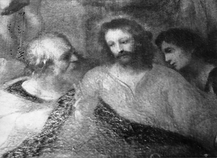 Tableau : La Cène, détail des visages du Christ, de saint Jean et de Judas, huile sur toile