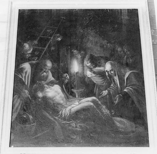Tableau : La Déploration du Christ, huile sur toile ; avant restauration