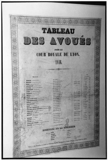 Estampe : Tableau des Avoués près la Cour royale de Lyon 1846, papier imprimé