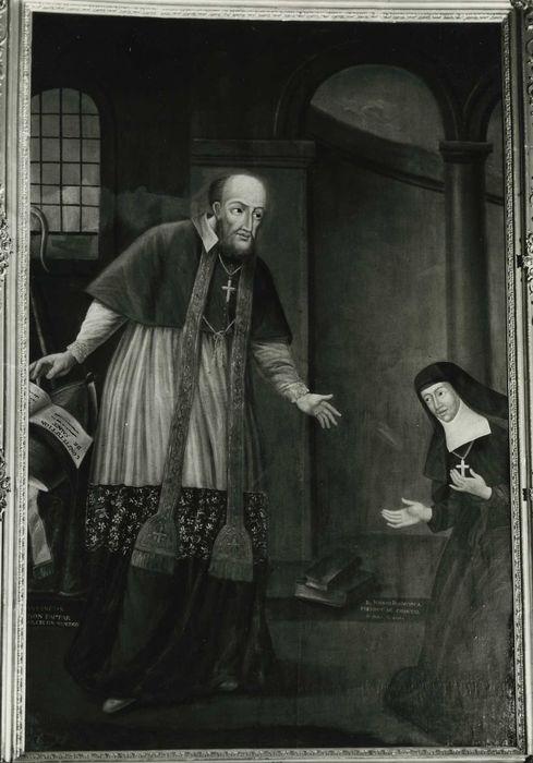 Tableau : Saint François de Sales remettant à sainte Jeanne de Chantal les constitutions de la Visitation