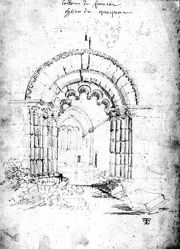 Croquis à la mine de plomb du portail ouest