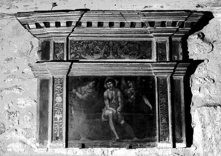 Flagellation, panneau peint et cadre en bois doré époque Renaissance