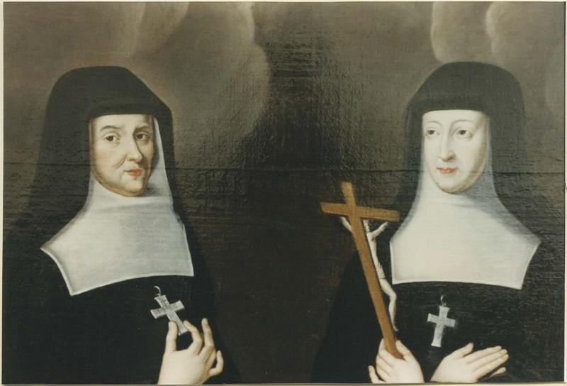 Tableau : Saint François de Sales bénissant mère Sachot et mère Champrougier, Visitandines, détail