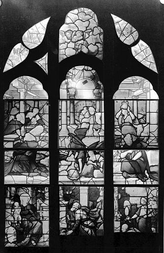 Nativité et Adoration des mages, panneau de vitrail, baie H
