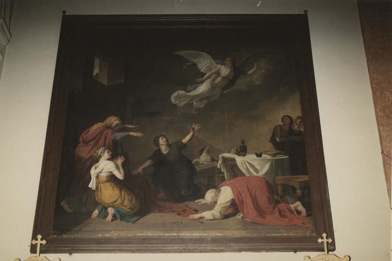 Tableau : l'Archange Raphaël disparaissant parmi la famille de Tobie