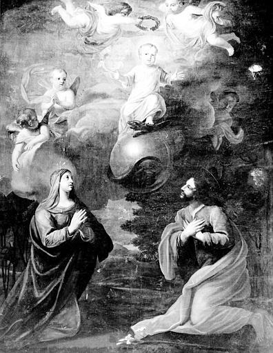 Tableau : Enfant Jésus couronné par les anges et adoré par la Vierge et saint Joseph (L')