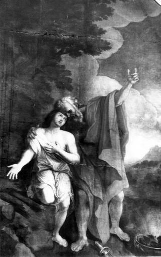 2 tableaux et leurs cadres : Le Sacrifice d'Abraham, David tenant la tête de Goliath