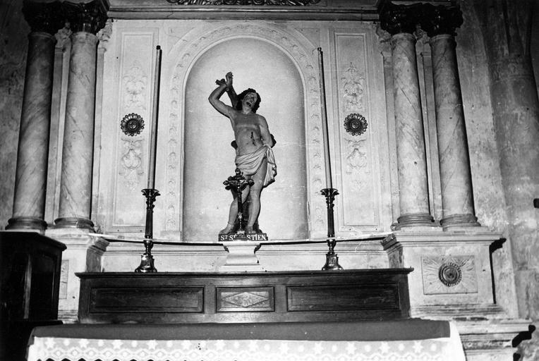 2 retables de la Vierge de Pitié et de saint Sébastien, statues : Vierge de Pitié, Saint Sébastien
