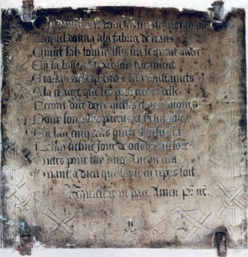 Plaque funéraire de Jehan Mesangeau, curé de Torcé
