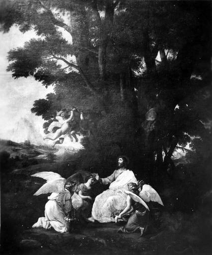 tableau : Le Christ servi par les anges, après restauration