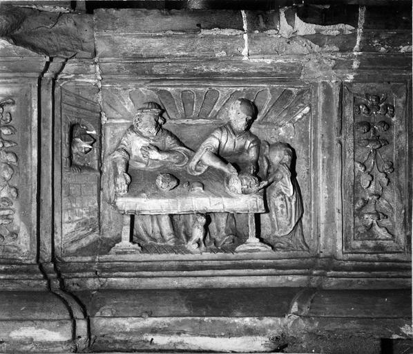 retable de la chapelle au nord du choeur, autel dédié à saint Jean-Baptiste, détail bas-relief : Le Festin d'Hérode