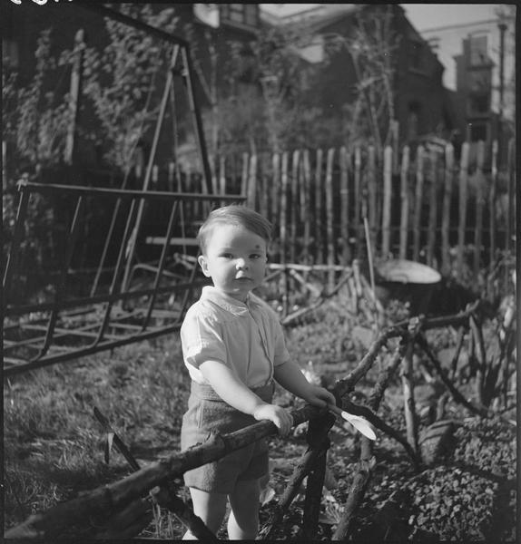 Un garçonnet dans un jardin