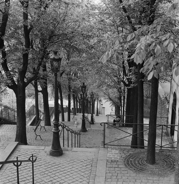 Vue sur les escaliers dans le sens de la descente sur la butte Montmartre