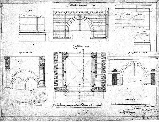Grand portail : Elévation, plan, coupe et détails
