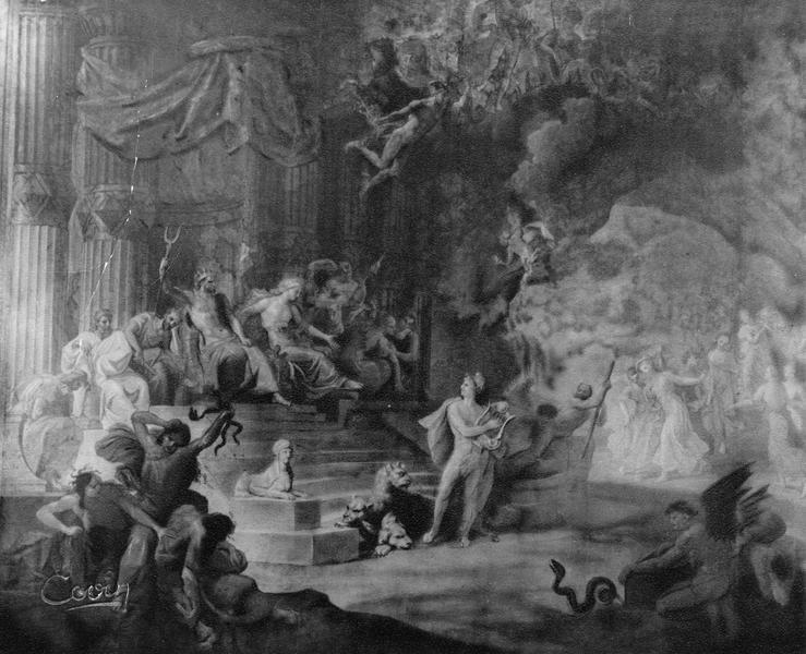 Rideau de scène : la Descente d'Orphée aux enfers
