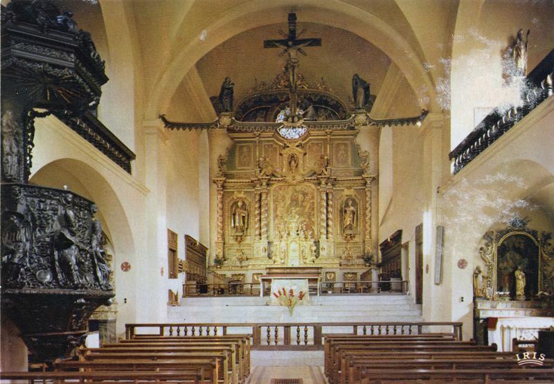 chaire à prêcher, vue partielle; autel, retable, tableau : Vierge apparaissant à saint Maxime et à saint Maurice (la), 2 statues : saint Aubin, saint Guérin, vue générale