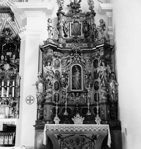 Retable du Rosaire, 12 tableaux : mystères joyeux les mystères douloureux et les mystères glorieux (les), vue générale