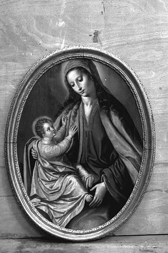 Tableau (panneau peint) : Vierge à l'Enfant, cadre
