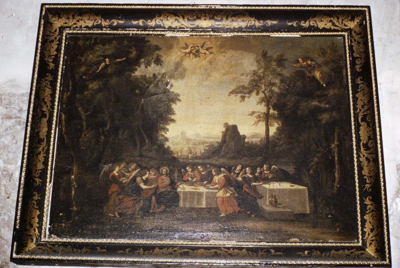tableau, cadre : Jésus servi par les anges