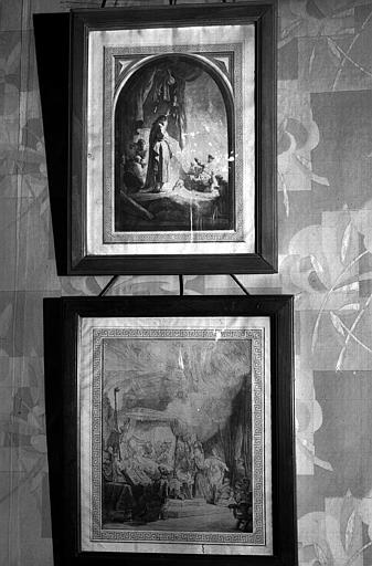 Six gravures encadrées dans des baguettes en bois noir, dont : La mort de la Vierge et la Résurrection de Lazare (bibliothèque du premier étage)