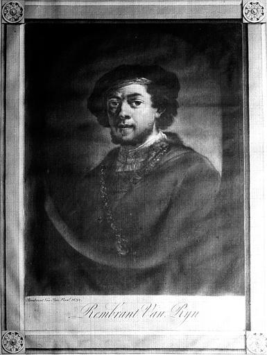 Gravure : Autoportrait de Rembrandt (bibliothèque du premier étage)