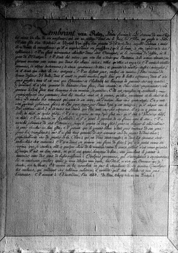 Manuscrit historique de la vie de Rembrandt au dos de son portrait gravé par lui-même (bibliothèque du premier étage)