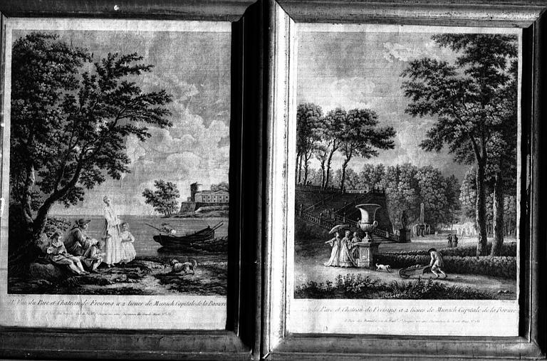 Deux gravures : Vues du parc du château de Freyssing près de Munich en Bavière, dans un cadre Louis XVI en bois doré (bibliothèque)