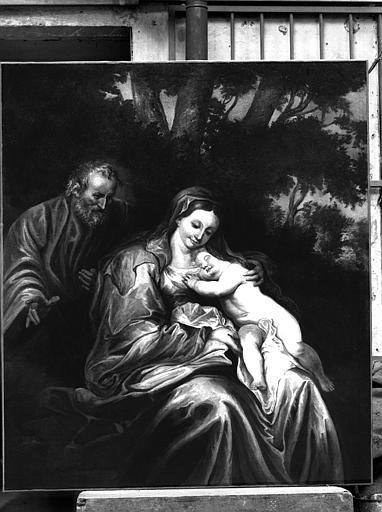 Peinture sur toile : L'Enfant endormi, la Vierge et saint Joseph