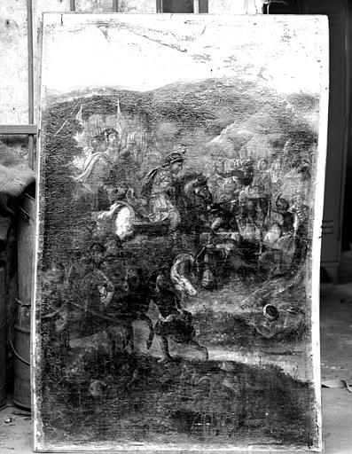 Combat de saint Céry contre les Maures, peinture sur toile marouflée sur un panneau de latté