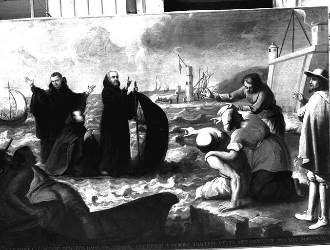 Saint François de Paule traversant le détroit de Messine, peinture sur toile