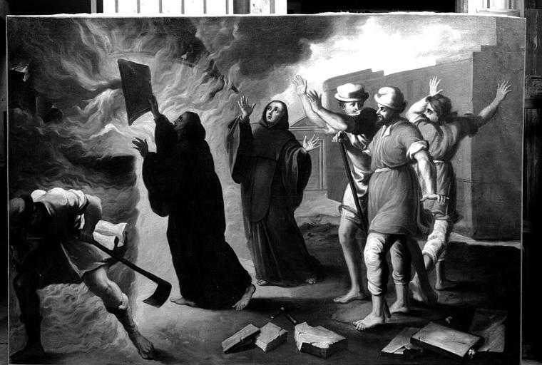 Miracle au four à chaux par saint François de Paule, peinture sur toile