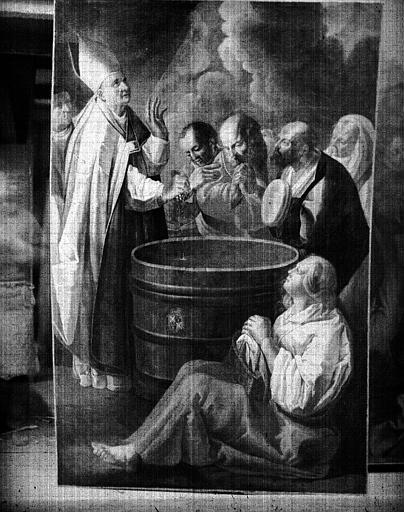 Le miracle de saint Théodule, réplique d'un tableau de la cathédrale de Besançon, peinture sur toile