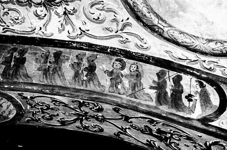Narthex, peinture murale : Procession, détail