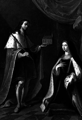 Béatrix, Hiéronyme de Lorraine-Lillebonne, abbesse de Remiremont, fondatrice de l'hôpital, aux pieds de saint Romary, peinture sur toile