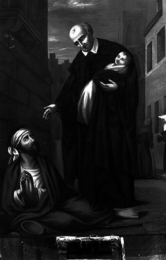 Scène de la vie de saint Vincent de Paule, peinture sur toile de la chapelle Saint-Vincent-de-Paul