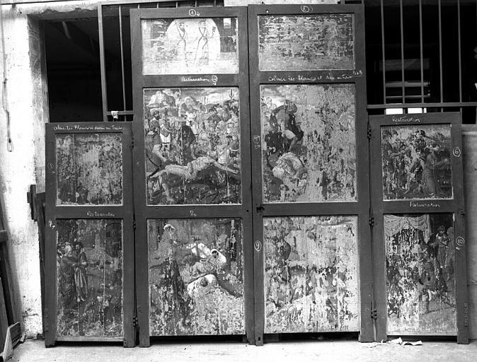 Retable, dix panneaux peints, après transposition
