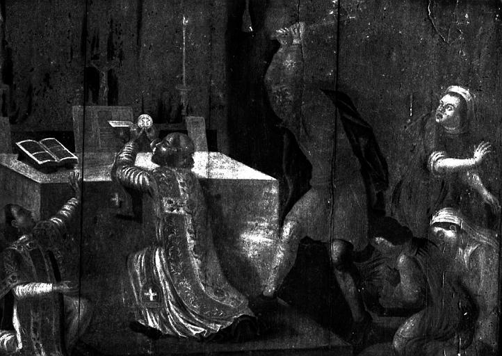 Panneau peint : Saint martyre disant sa messe