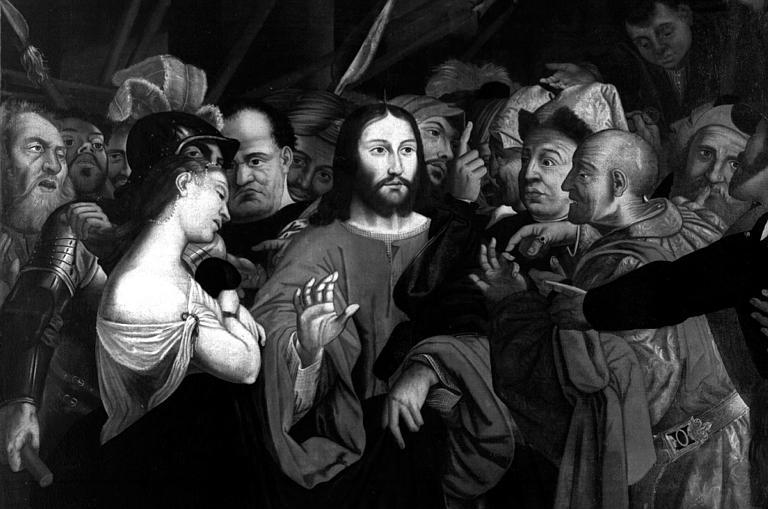 La femme adultère, d'après le panneau de Lorenzo Lotto au Louvre, peinture sur toile