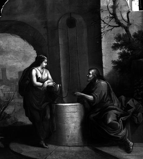 Le Christ et la Samaritaine, peinture sur toile du retable dans le côté nord du déambulatoire