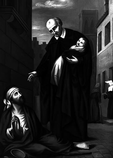 Scène de la Vie de saint Vincent de Paul, peinture sur toile de la chapelle Saint-Vincent-de-Paul