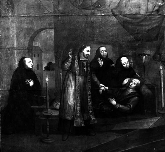 Evêque donnant l'extrême-onction à un mourant, peinture sur toile