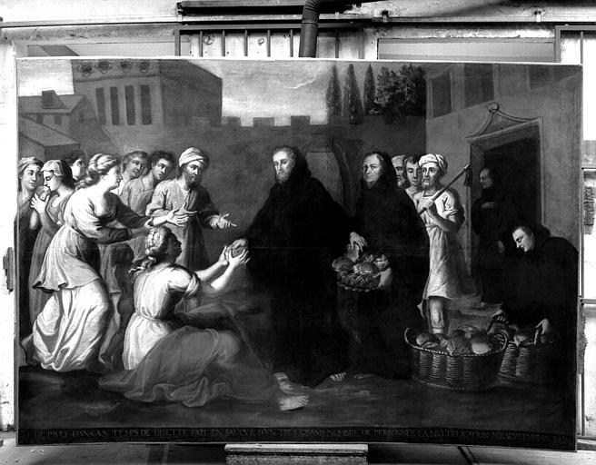 Multiplication des pains par saint François de Paul, peinture sur toile