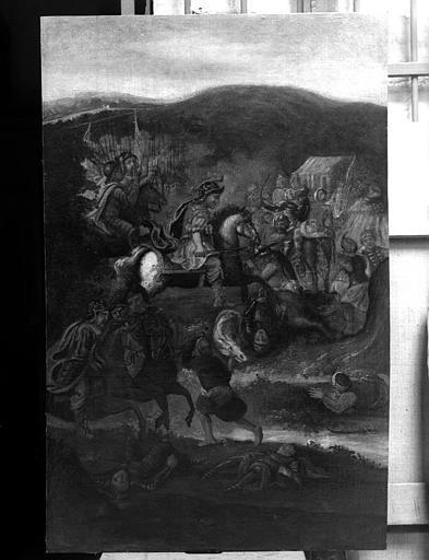Combat de saint Cizy contre les Sarrasins, peinture sur toile marouflée