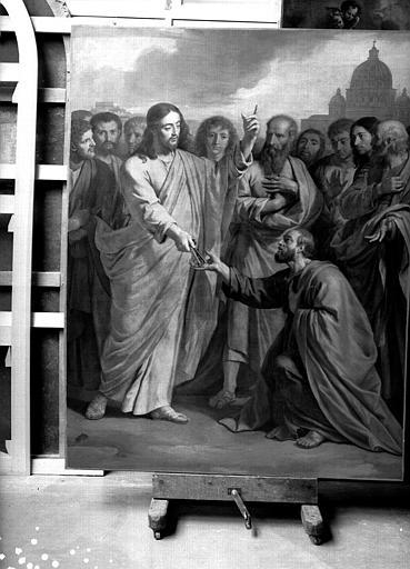 Remise des clefs à saint Pierre, peinture sur toile