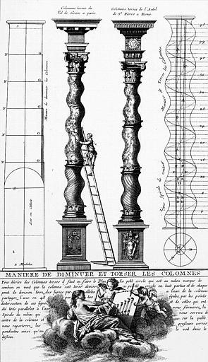 Gravure : 'Manière de diminuer et torser les colonnes'