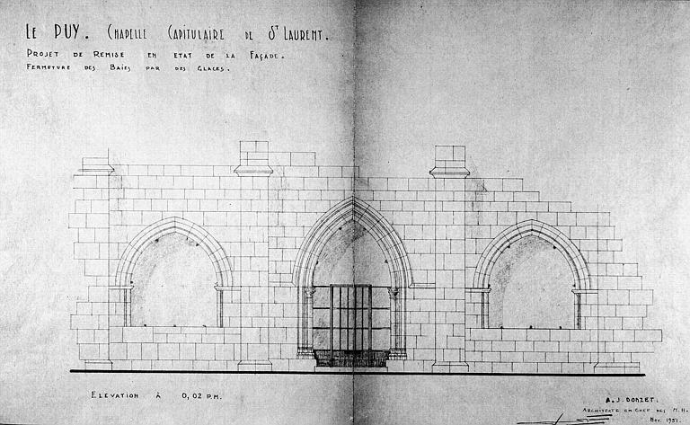Projet de remise en état de la façade, fermeture des baies par des glaces : Elévation