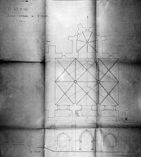 Plan. Elévation de la façade