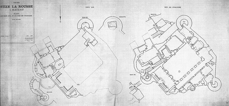 Plans du sous-sol et du rez-de-chaussée (état actuel)