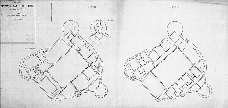 Plans des premier et deuxième étages (état actuel)