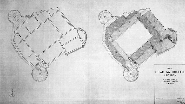 Plans des combles et des toitures (état actuel)